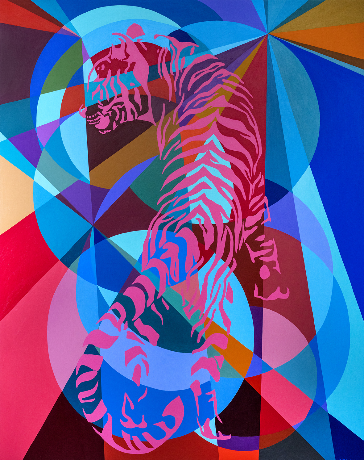 Pink Tiger 60x48in acrylic on canvas 2018