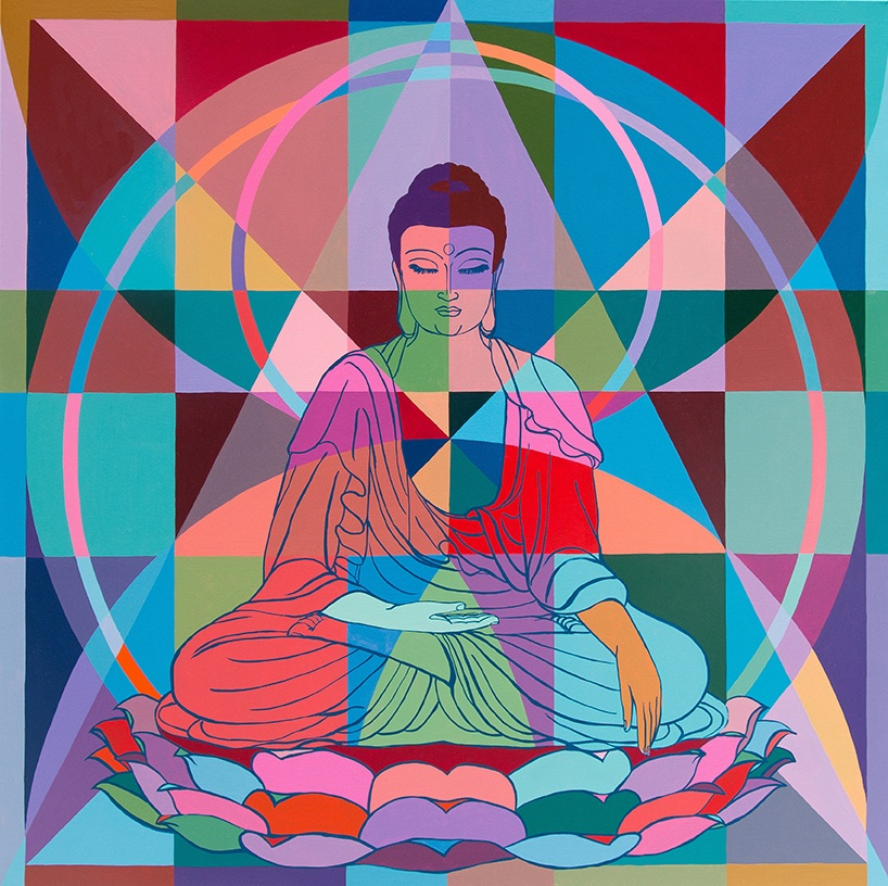 Buddha (Our Lives Are Shaped By What We Love) 66x66in acrylic on canvas 2018