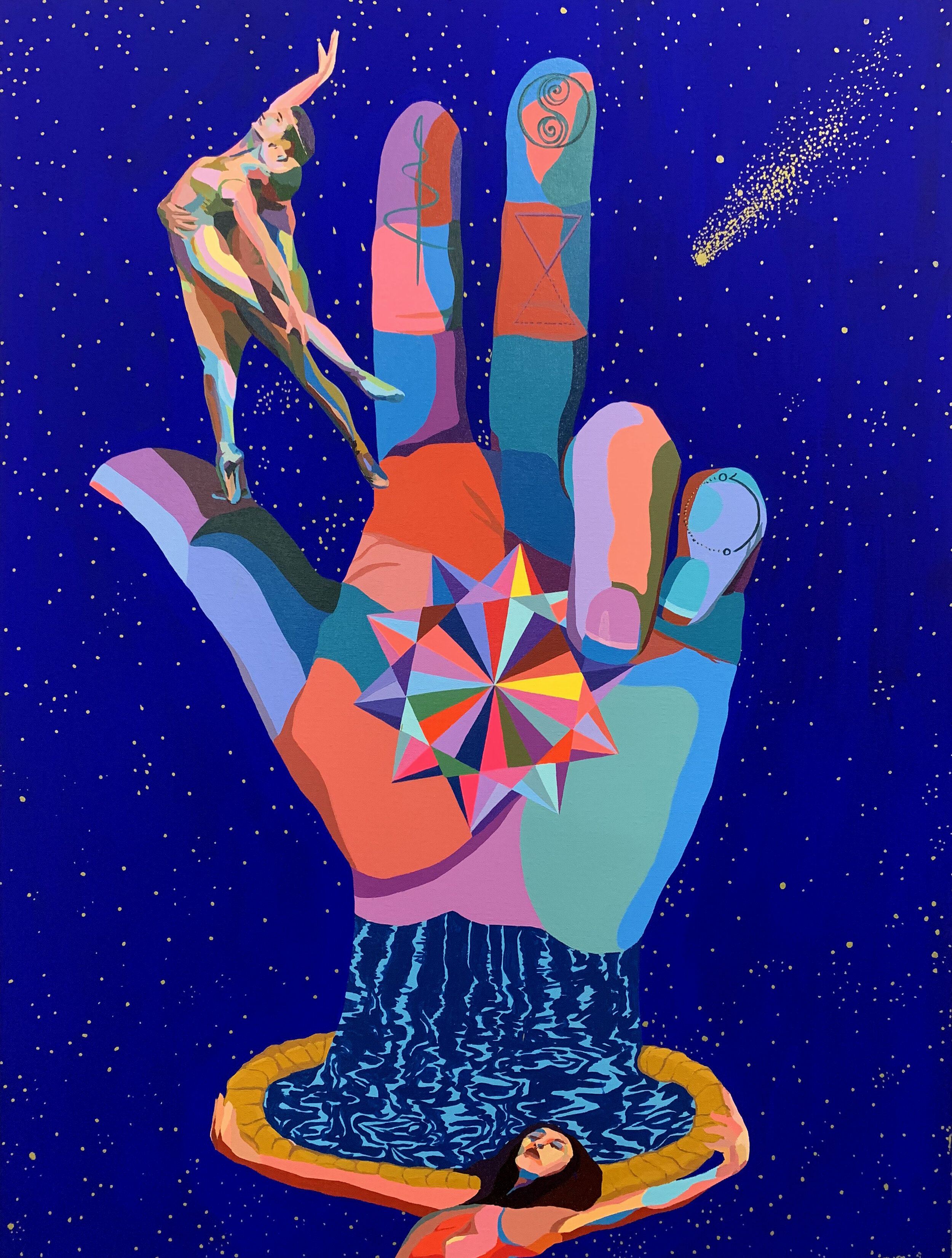 Divine Hand Dancing 40x30in acrylic and gouache on canvas 2019