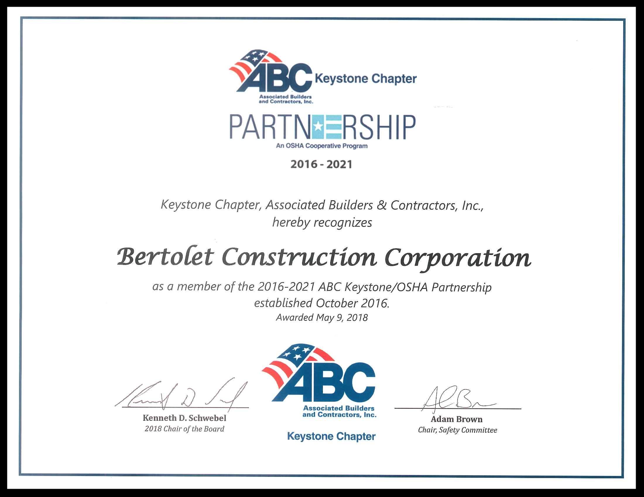 Associate Builders and Contractors, Inc. Partnership Certificate