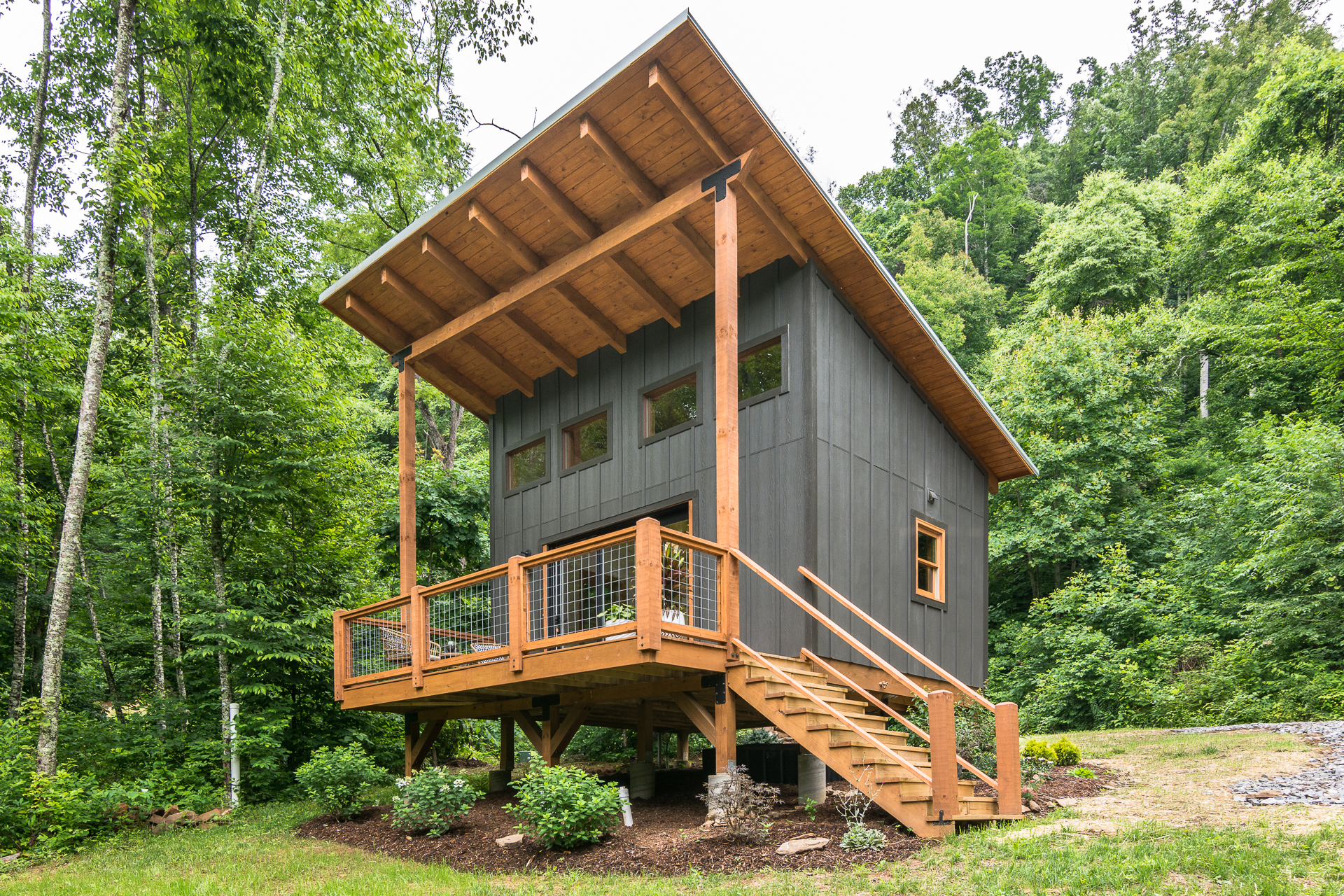Outdoor photo of a cabin at Bliss Farm and Retreat