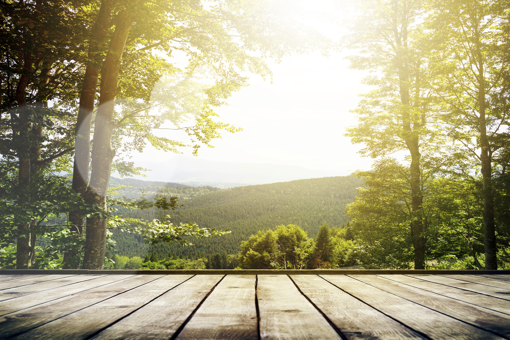 A scenic overlook view from a deck at Bliss Farm and Retreat