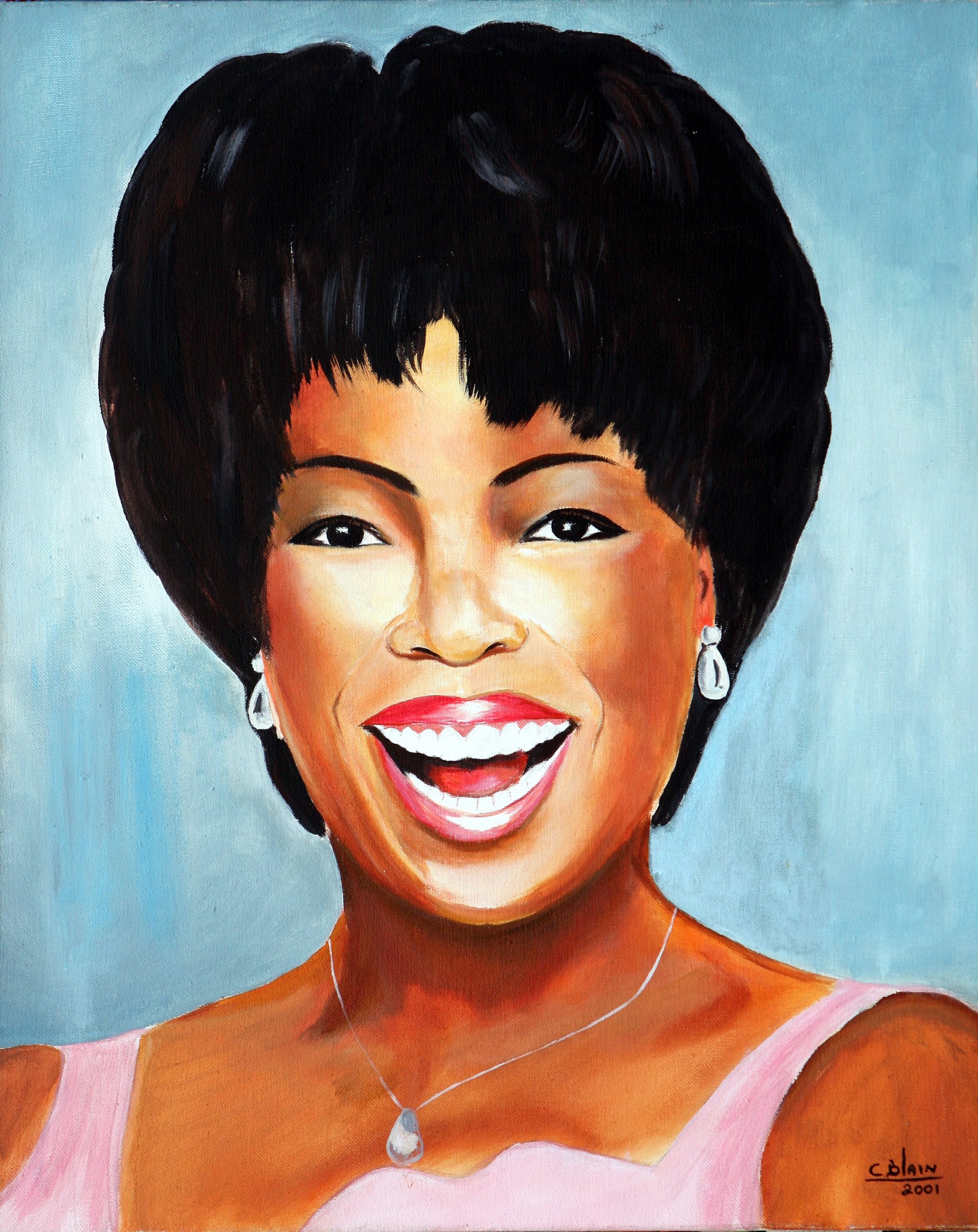 "oNE lOVE - ""Totally charming...and a great look. In this painting the artist Carel Blain pays homage to the American media proprietor, talk show host, actress, producer, and philanthropist Oprah Winfrey. The artist paints with acrylic. This painting is authentic and fully guaranteed."""