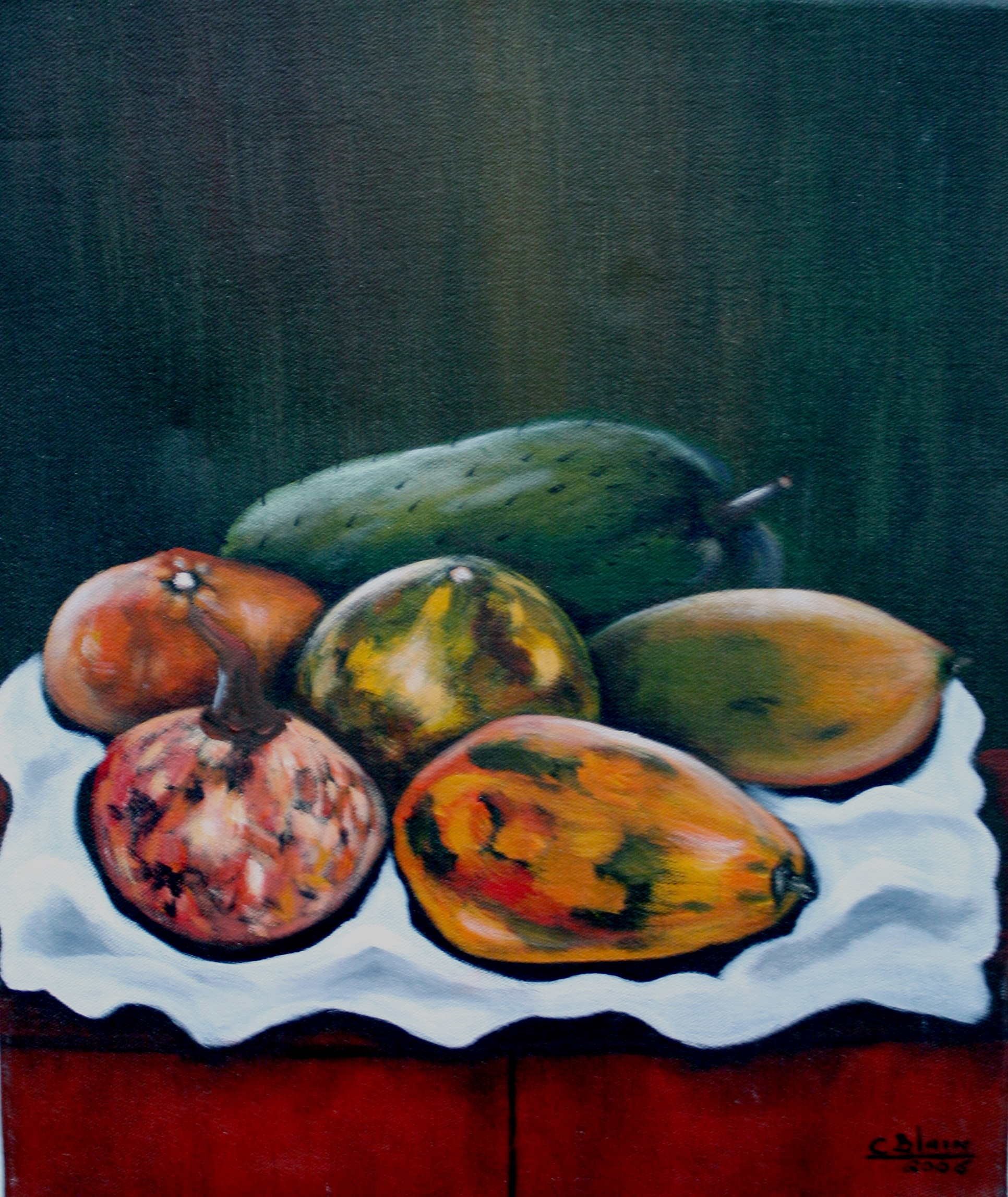 "Les Fruits   - ""A beautiful display of fruits and vegetables in a colorful arrangement. Painting is mounted on stretched canvas. This painting is authentic and fully guaranteed """