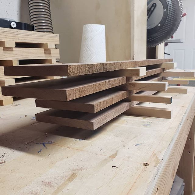 I always stack wood that I have milled overnight. If the wood is going to move, I can remove the movement the next day before doing any kind of joinery. I also leave the wood at a thicker and wider dimension than actually needed to allow for this. I checked this walnut this morning and sure enough... it moved overnight.  #woodworker #woodworking #woodshop #woodshoplife #woodworkerlife  #furniture #wood #woodcraft #woodshop_warrior #woodporn #woodworkforall #woodworkerofinst #garageshop #carpenter #carpentry #diy #doityourself #bestigwoodworking #woodreview #goldencoastwoodworks