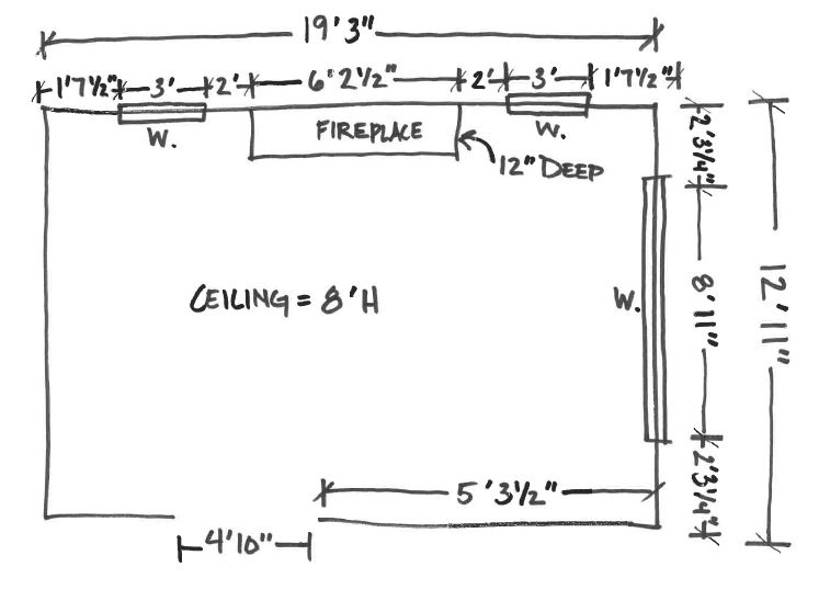 hand drawn floor plan with measurements, abbreviated design provides online interior design services in Grand Rapids Michigan,