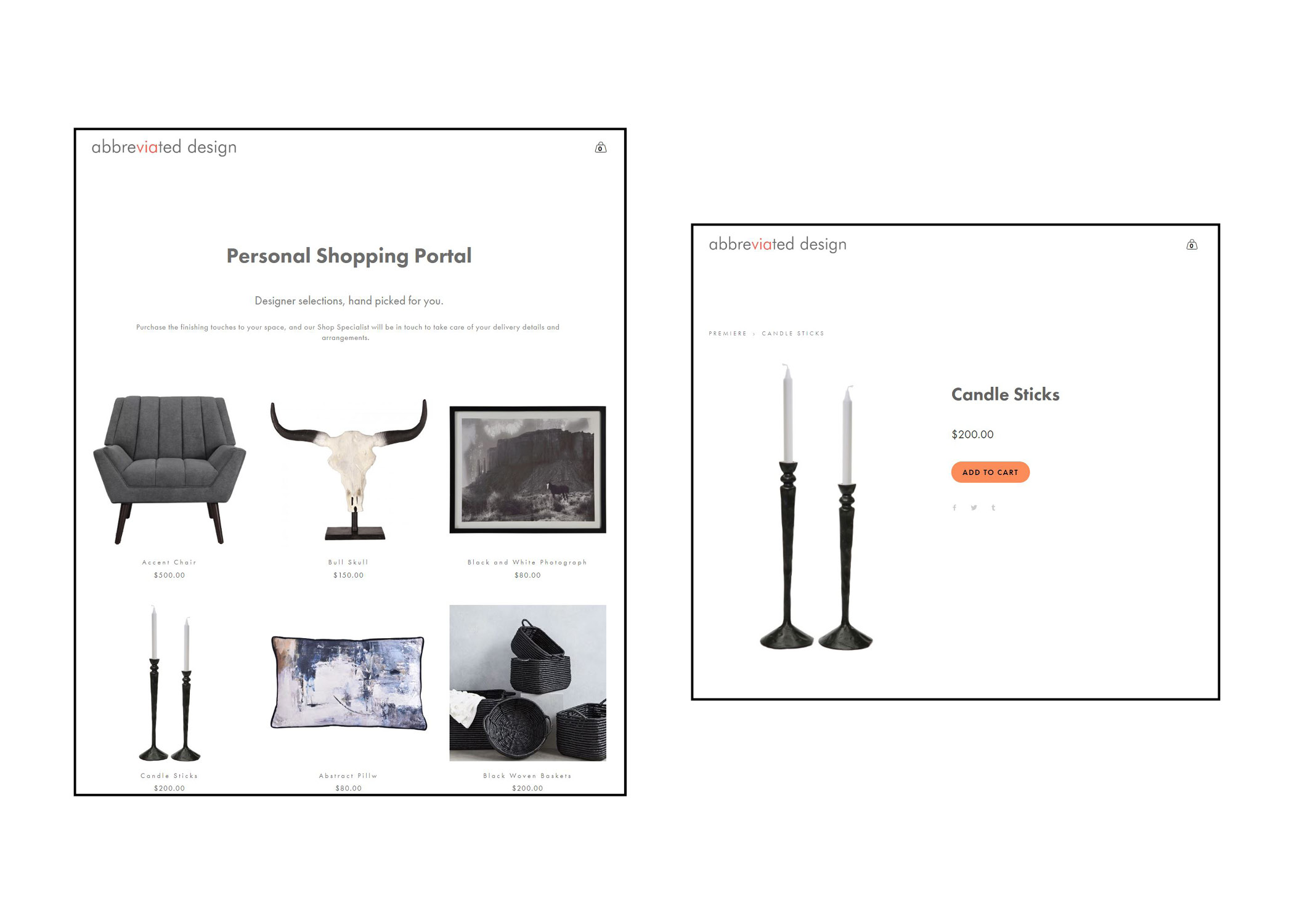 Personal shopping portal home and product pages.