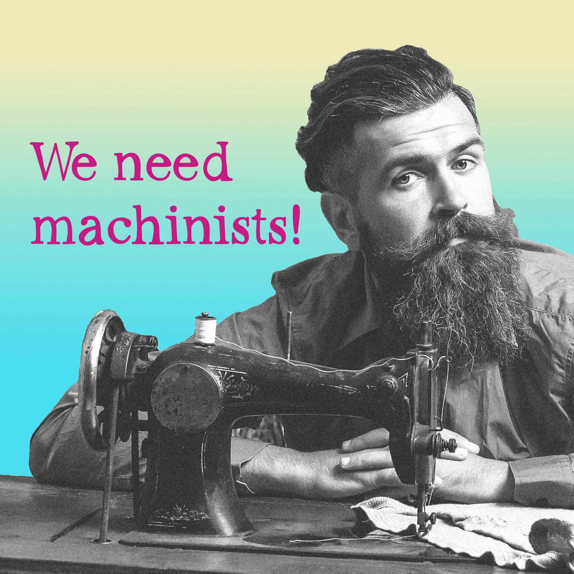 Beardie with sewing machine - cropped for job vacancy advert.jpg