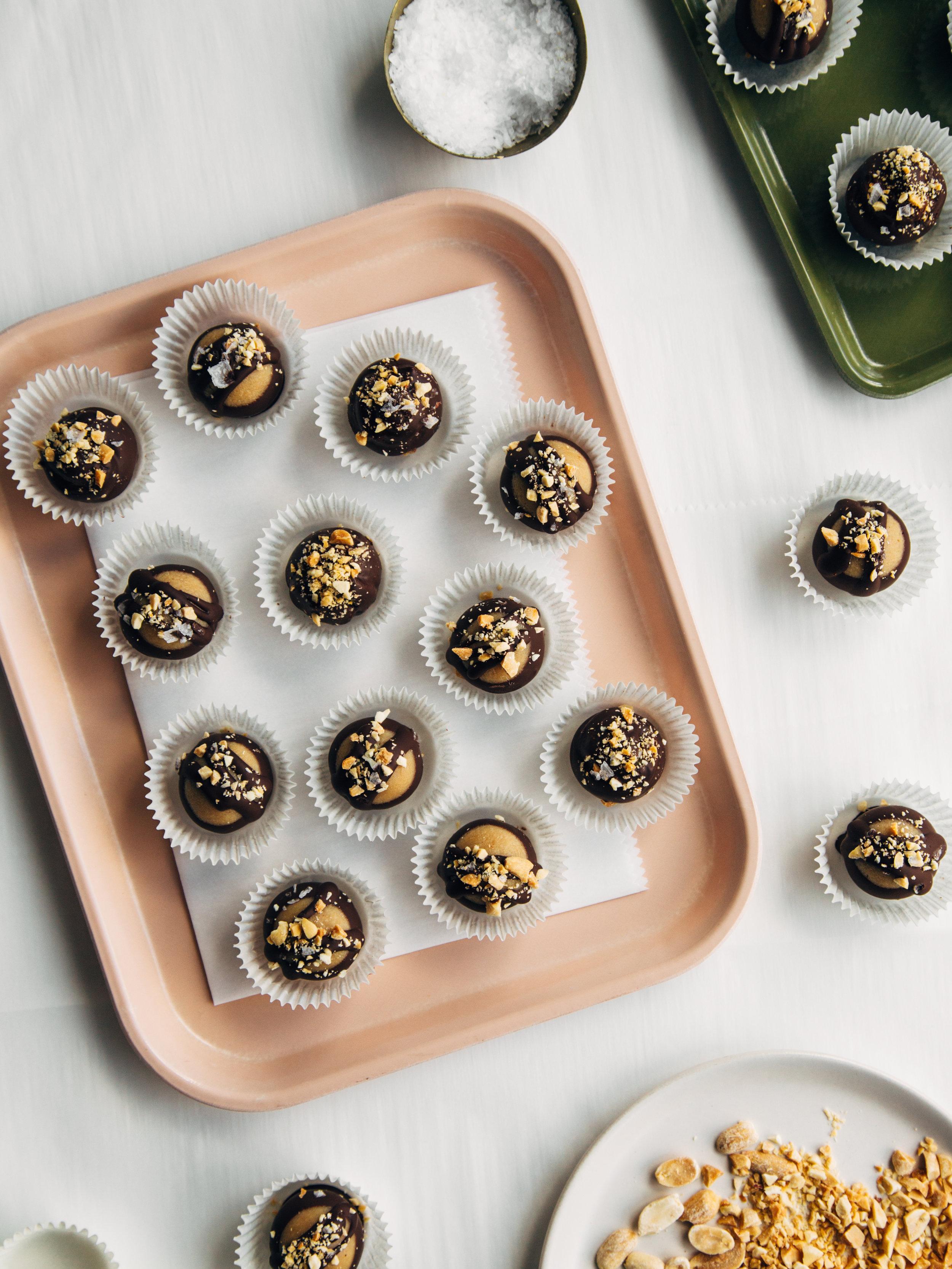chocolate dipped peanut butter truffles