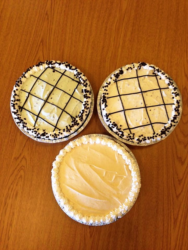 ICe cream pies - Flavors include: Coconut Almond Chip, Mint Chip, Cookies N' Cream, and seasonal flavors