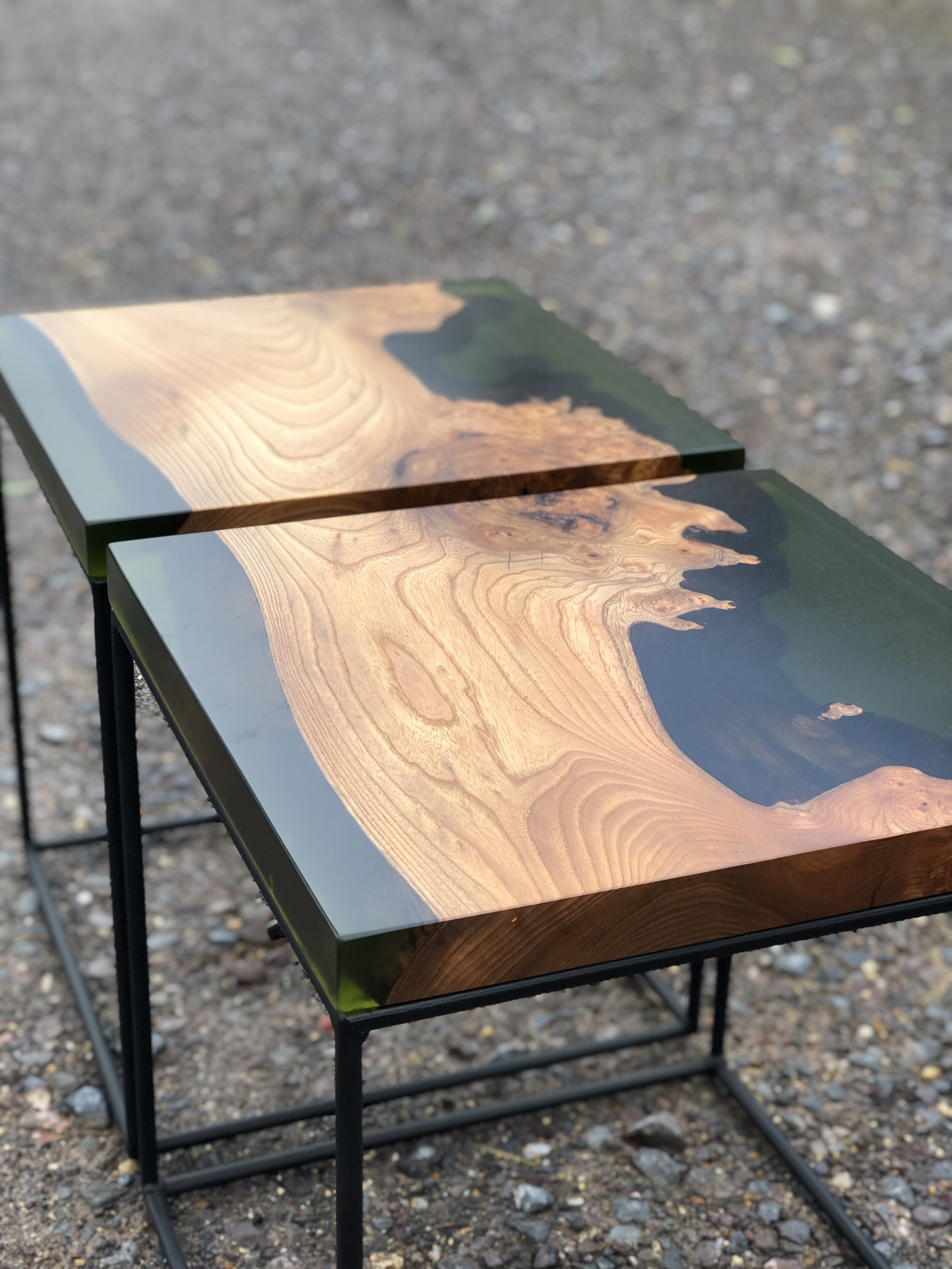 Elm And Green Resin Side Table Pair Rooso Designs