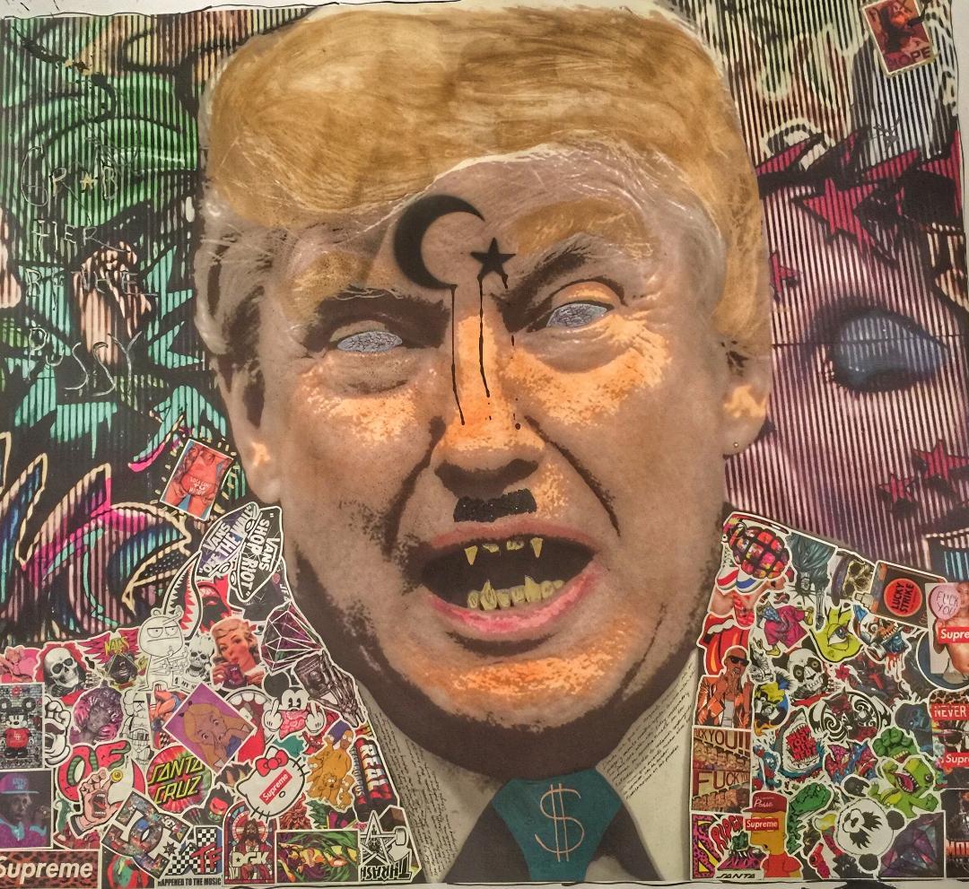 "Mein Trumpf  , JAF - 40""x40"" - Mixed Media: Cheeto dust, acrylic, ink, graphite, stickers, glitter - $500 starting bid"