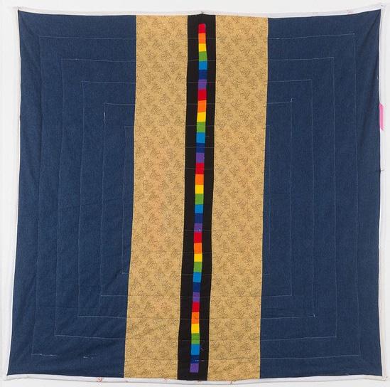 "In Rainbows (side B) , Joey Veltkamp - 68""x68"" - Fabric, thread, batting - $500 starting bid"