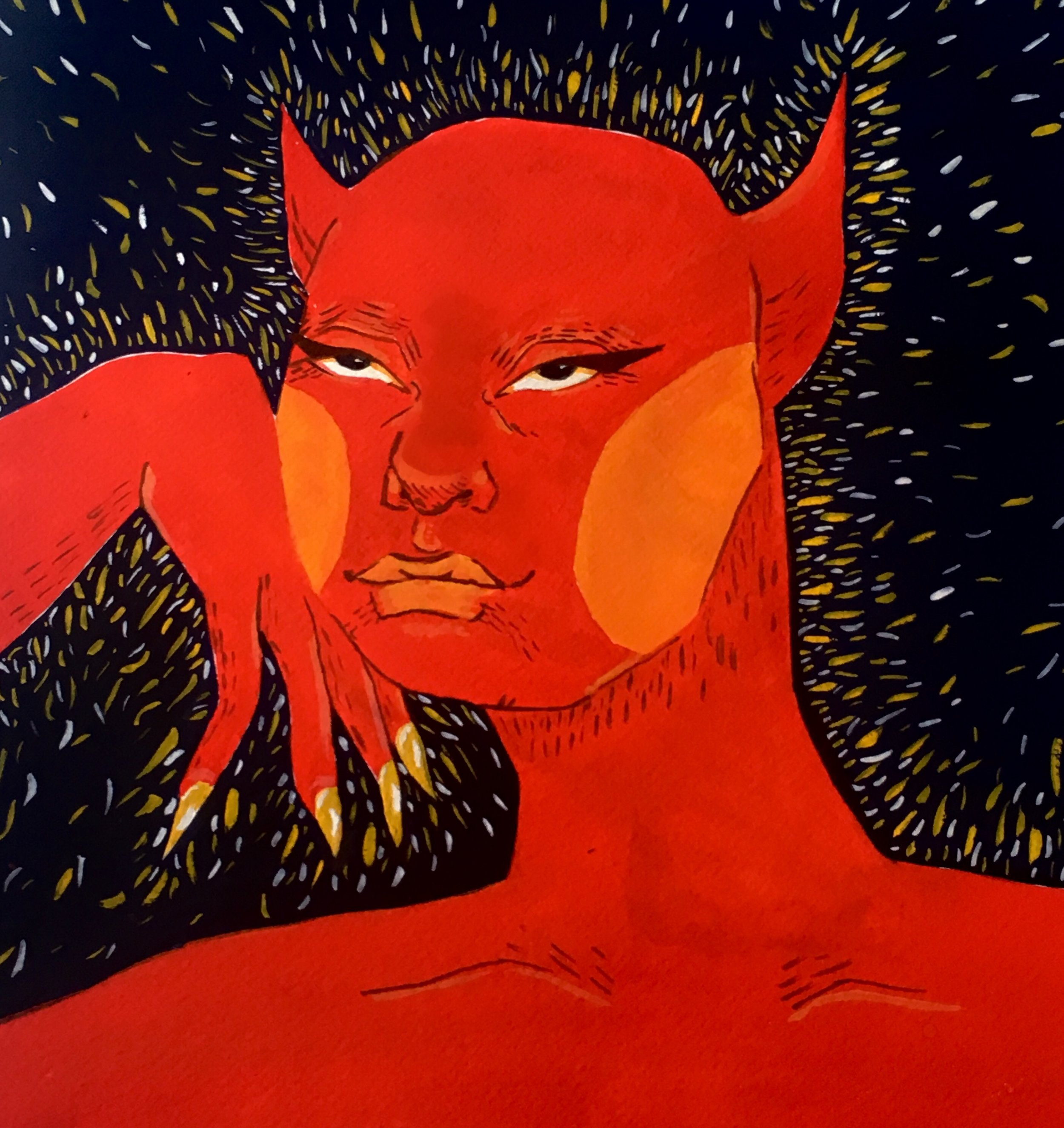 "A Sense of Self , Arlo Van Liew - 9"" x 12"" - Gouache - $100 starting bid"