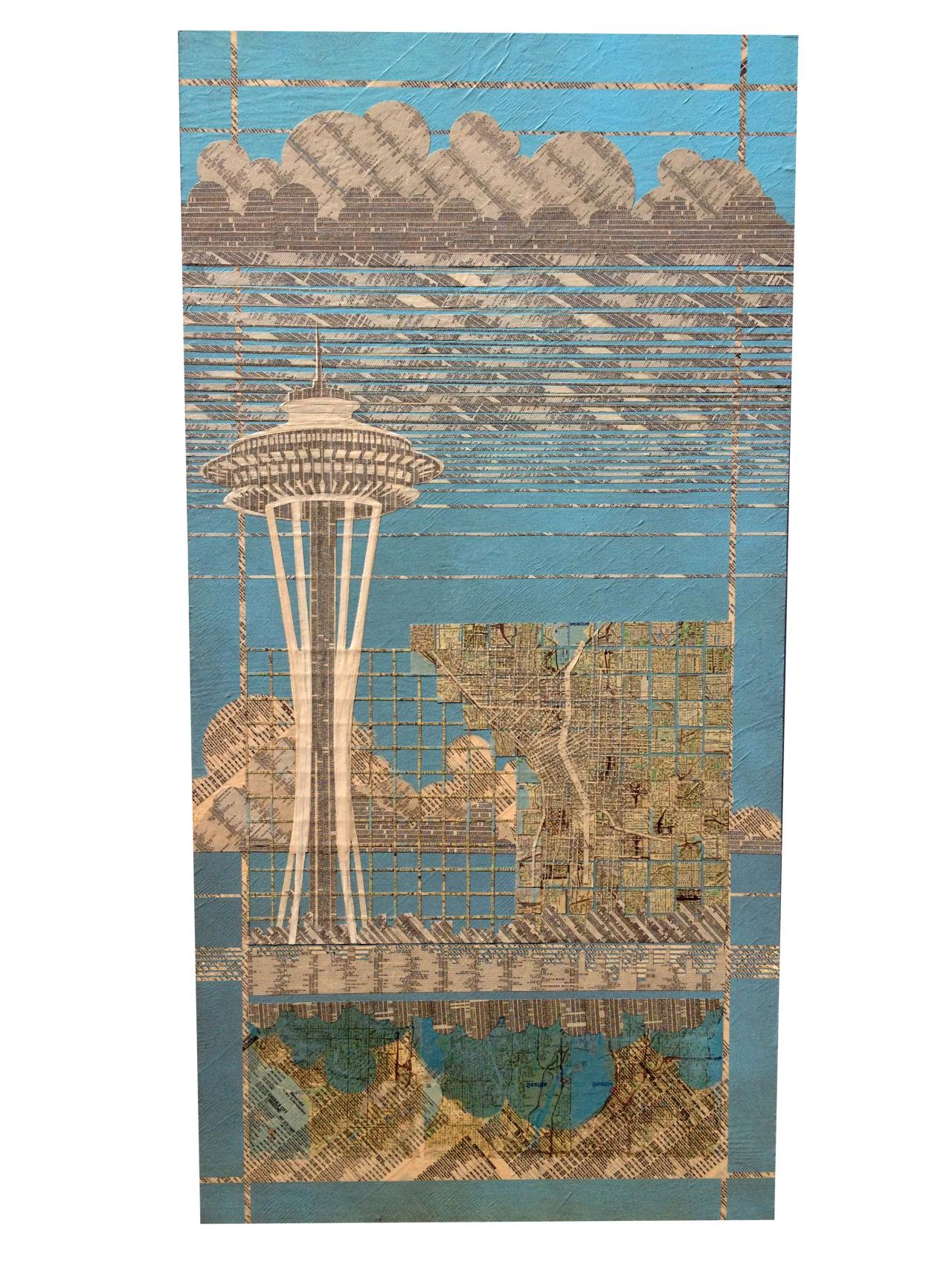 "City Center , Lucky - 48"" x 36"" - Phone book on plywood - $333 starting bid"