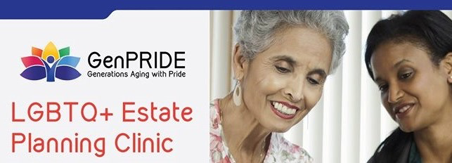 Image Description: GenPRIDE logo, Elderly individuals, white background with blue trim