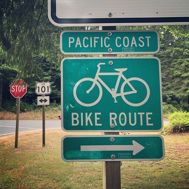 Cars and bikes need the same kind of infrastructure, so when we're not fussing over bike racks, we're getting hyped about bicycle wayfinding! Here's an example of a turn sign from the Pacific Coast Bike Route along the California coast! #wayfinding #bikeroute #bikesignage #pacificcoastbikeroute #california