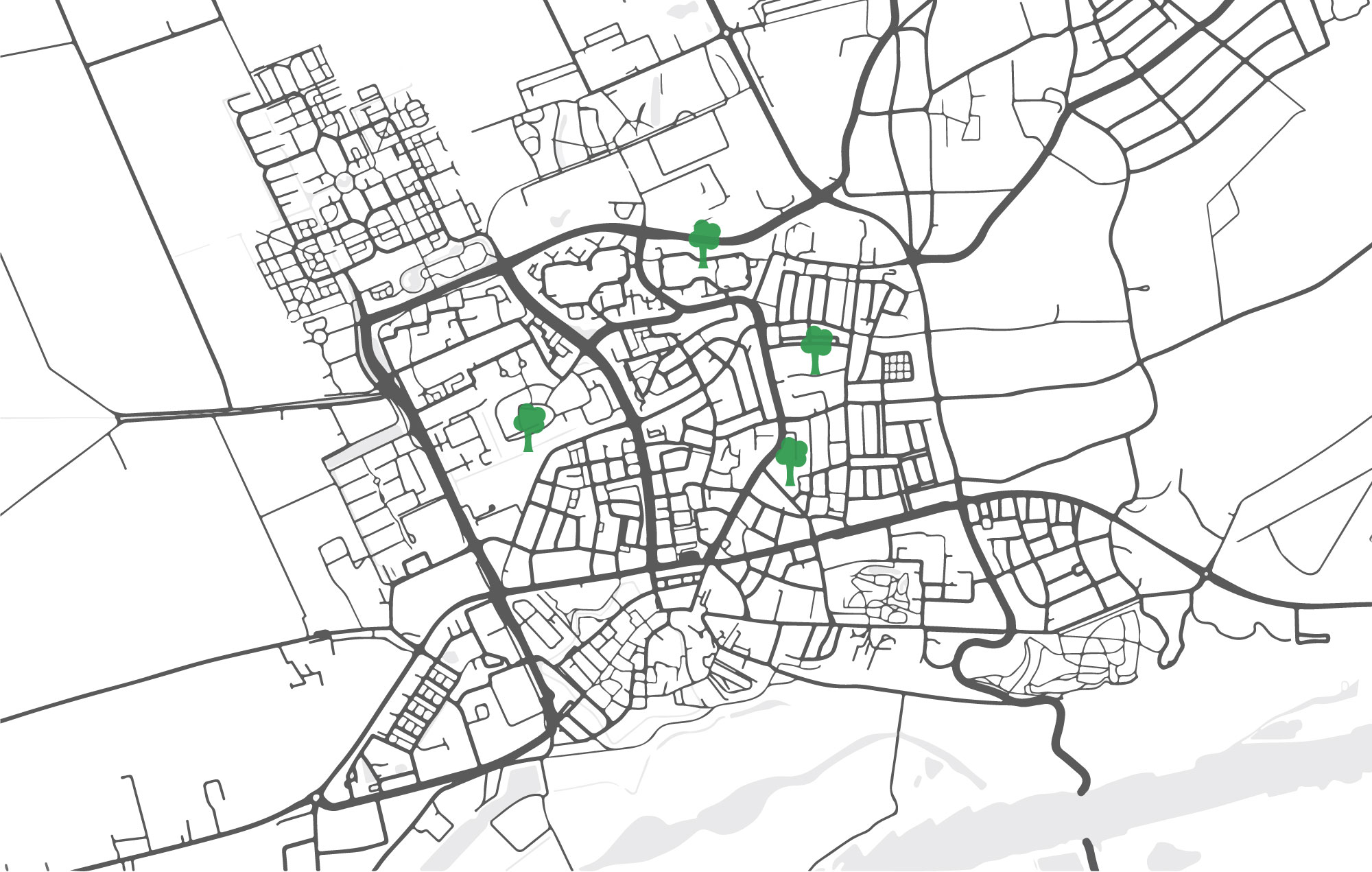 The first 13 trees were planted on the 29th of september on 4 different locations in Wageningen