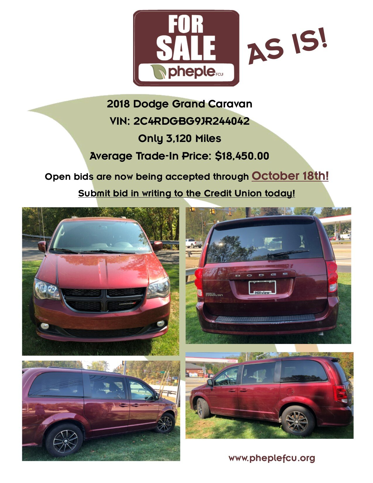 car-for-sale-as-is-2018-Dodge-Grand-Caravan-VIN-2C4RDGBG9JR244042-Only-3120-Miles-Average-Trade-In-Price-18,450.00-dolalrs-Open-bids-are-now-being-accepted-through-October-18th-Submit-bid-in-writing-to-the-Credit-Union-today