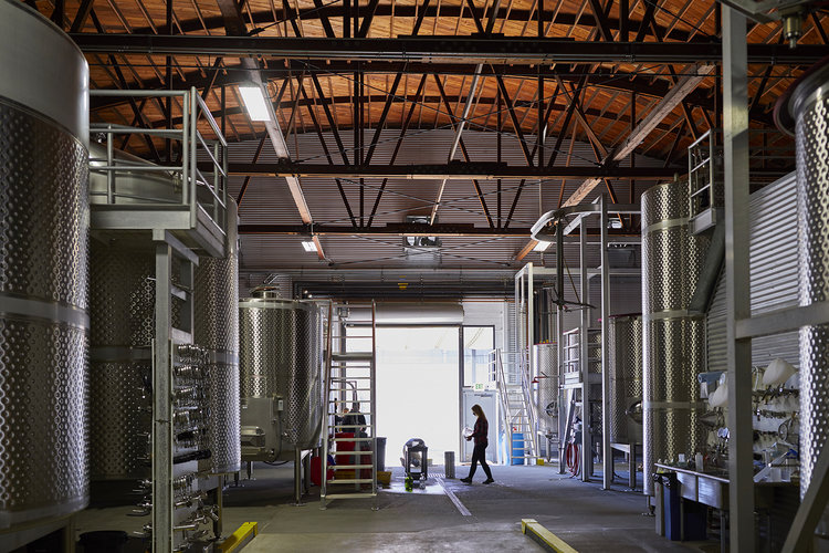 Inside the winery facility in west Sonoma County.