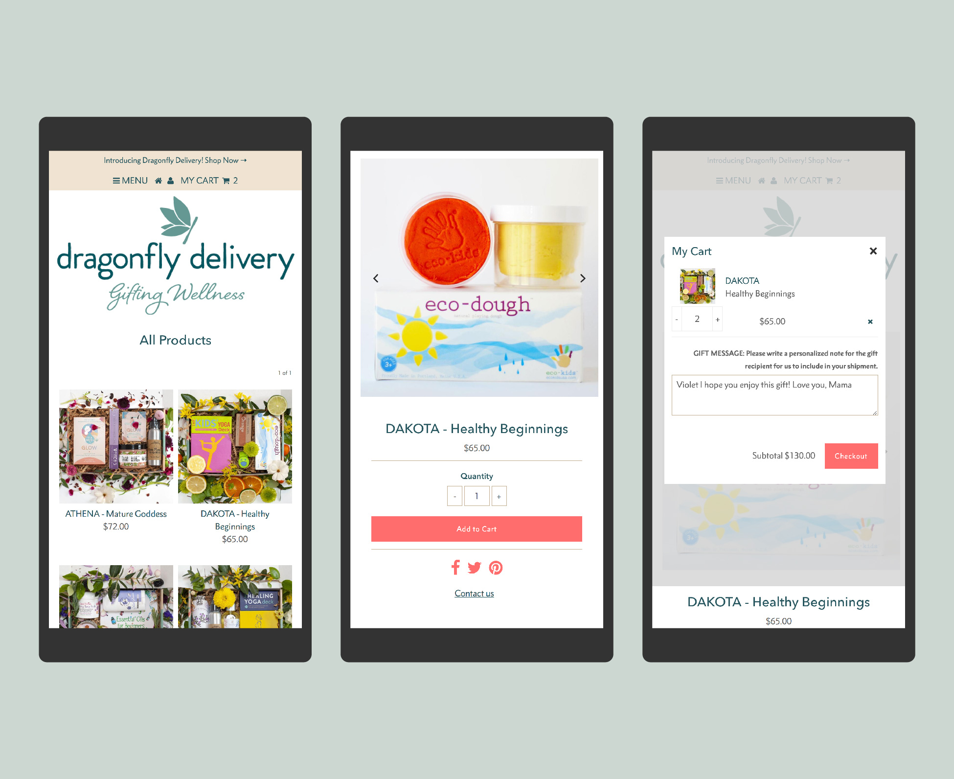 Dragonfly Delivery Online Shop with mobile friendly responsive design