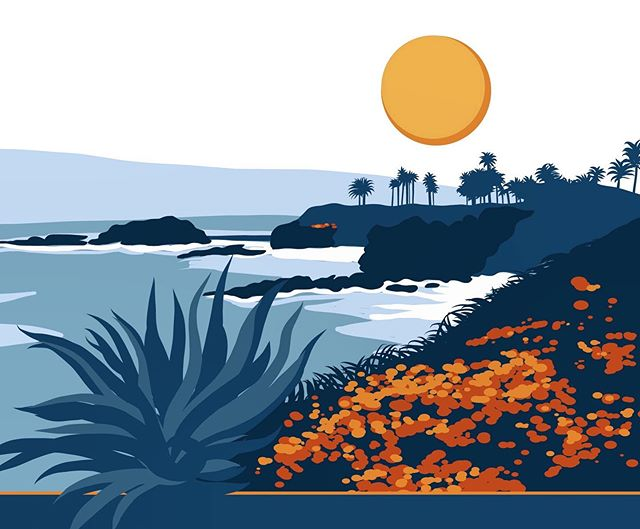 A graphic illustration of Laguna Beach in the works for branding an upcoming conference ☀️ 🌊 🌴 #eventbranding #lagunabeach #graphicillustration . . . . #graphicdesign #graphicdesigner #conferencegraphics #conference #conferencedesign #illustration #illustrator #applepencil #ipadpro #branding #eventdesign #digitalillustration #posterdesign #travelposter #pacific #california #branddesigner