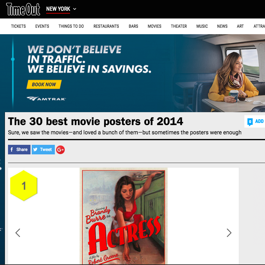 TIMEOUT NEW YORK  DECEMBER 22, 2014 The 30 Best Movie Posters of 2014: #1 Laura Baran for 'Actress'   View More