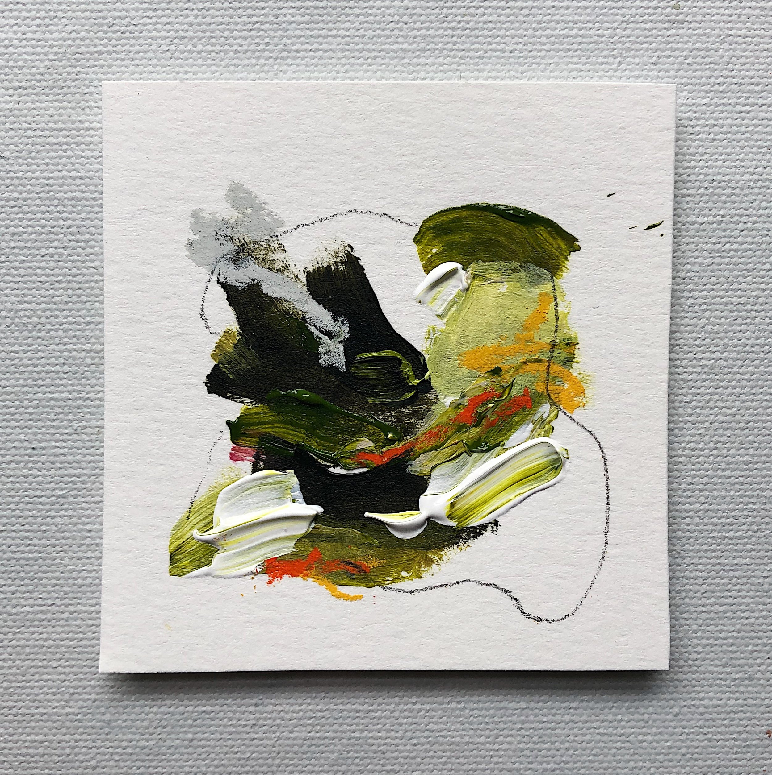 """Relief""  Original Acrylic Painting  - 3""x3"" / Acrylic, Pencil & Pastel on Paper  $25"
