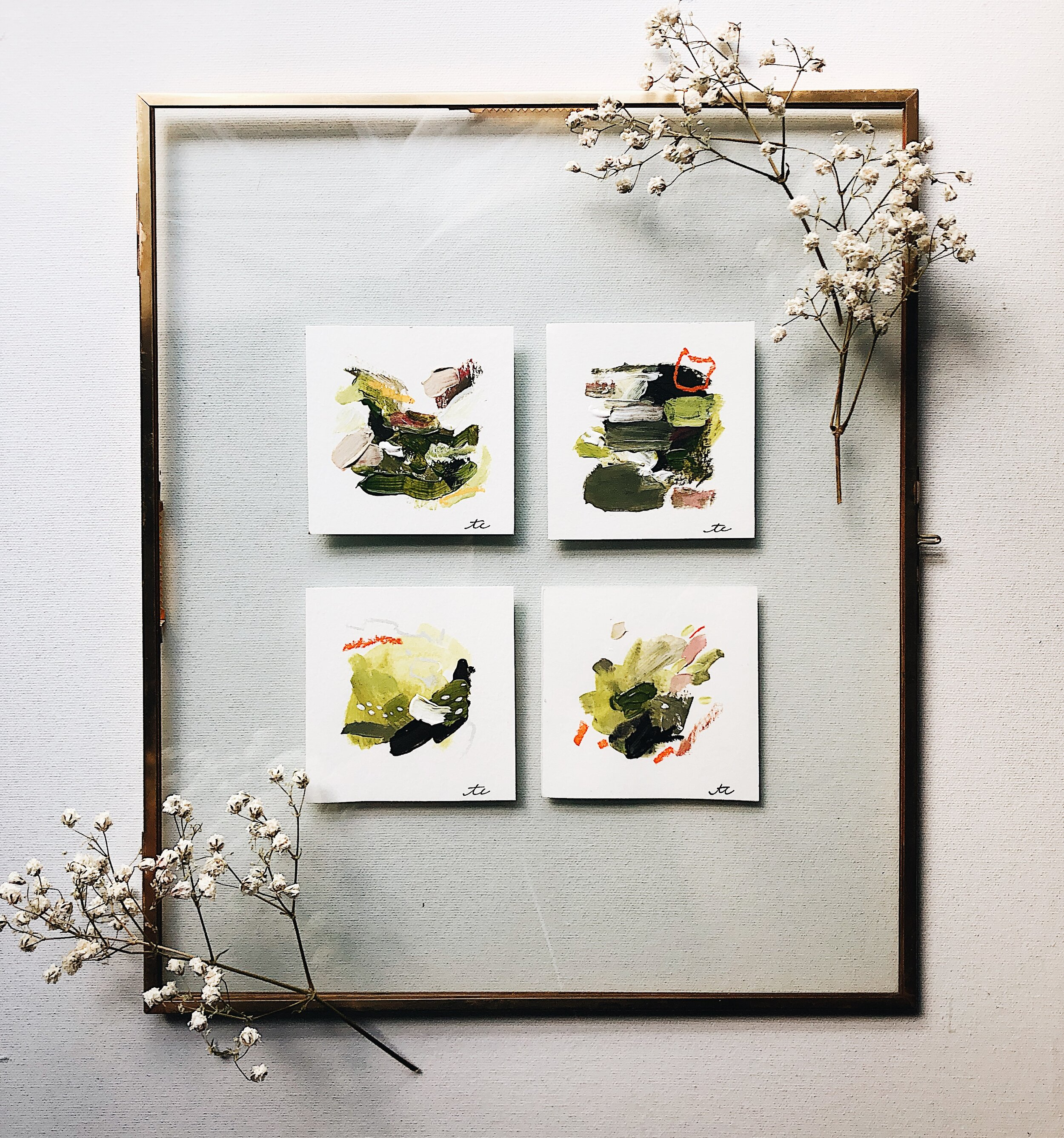 "4-Piece Original Paintings w/ Frame    Details & Dimensions:  - Four 3"" x 3"" Original Acrylic Paintings w/ Pastel ; ""Confidence"" / ""slow-blooming Romace"" ""/ ""Decision"" / ""Not a Bad Idea""  - 11"" x 13"" Metal Frame w/ Antique Brass Finish + clear glass overlay    $160"