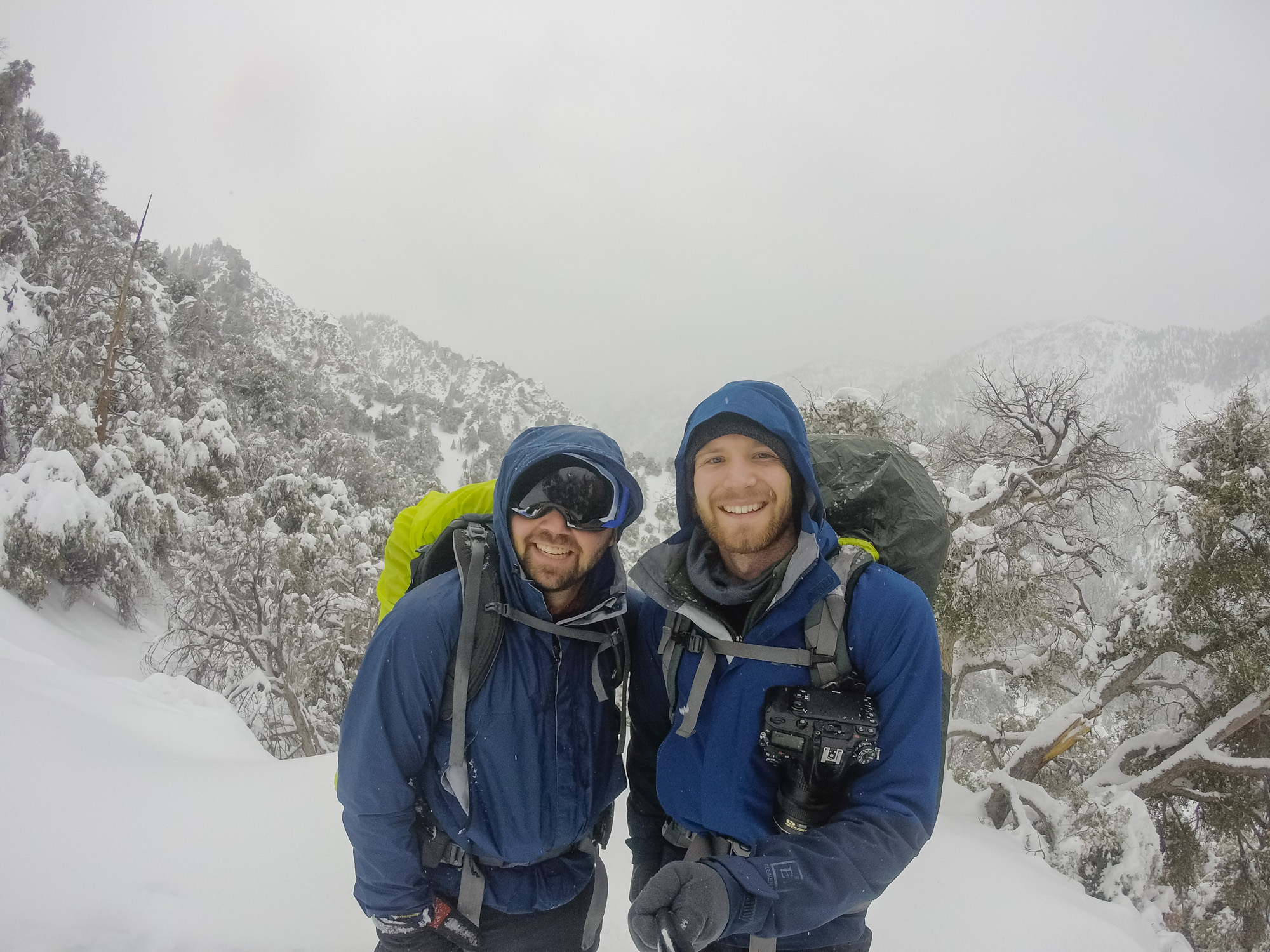 Tyler (left) and David (right) hiking down San Gorgonio in a snowstorm.