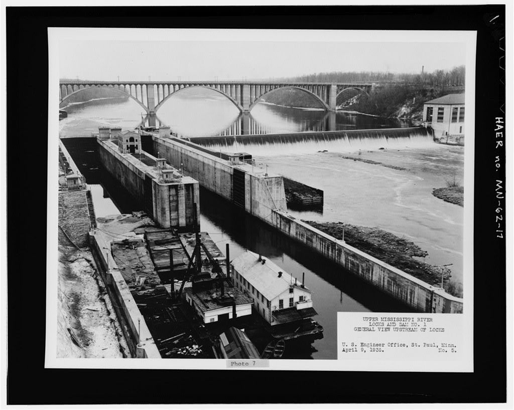 Historic American Engineering Record, Creator. Mississippi River 9-Foot Channel, Lock & Dam No. 1, In Mississippi River at Mississippi Boulevard, below Ford Parkway Bridge, Saint Paul, Ramsey County, MN. Documentation Compiled After. Photograph. Retrieved from the Library of Congress, < www.loc.gov/item/mn0384/ >.
