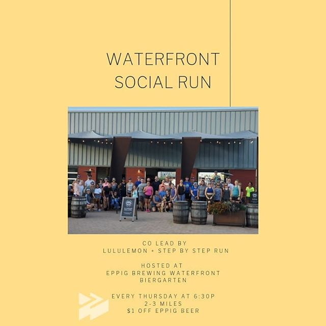 Every Thursday, come run/walk 2-3 miles along the harbor! All paces welcome. Starts at 6:30p Stay for $1 off @eppigbrewing beers Meet new folks . #beerrun #socialrun #funrun #thesweatlife #lululemon #makeiteppig #runsandiego #sdrunner #runsd #harborrun #supportcraftbeer #sdrunclub #explorerunhavefun #sandiegorunners