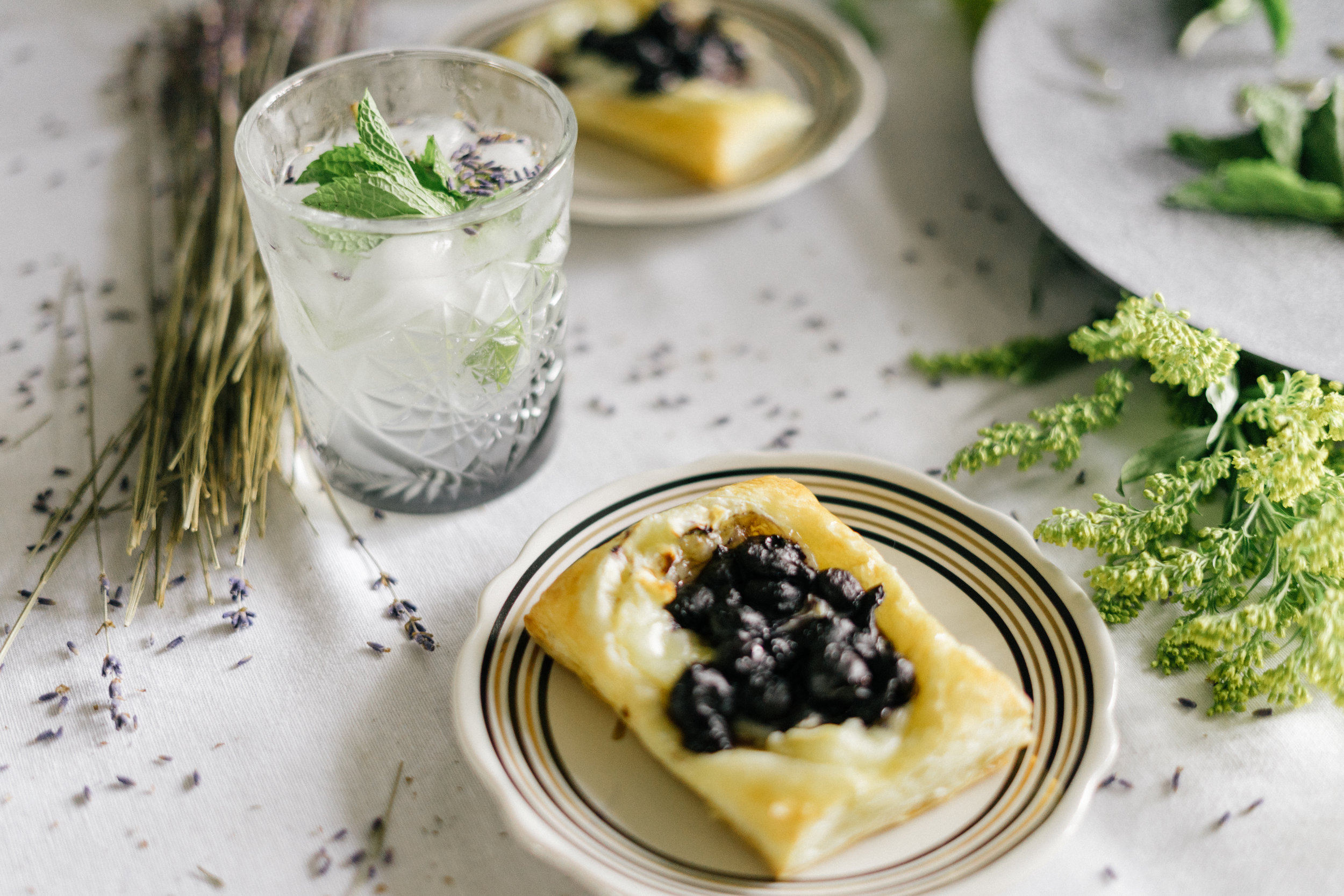 Blueberry Brie Tarts with Spicy Honey