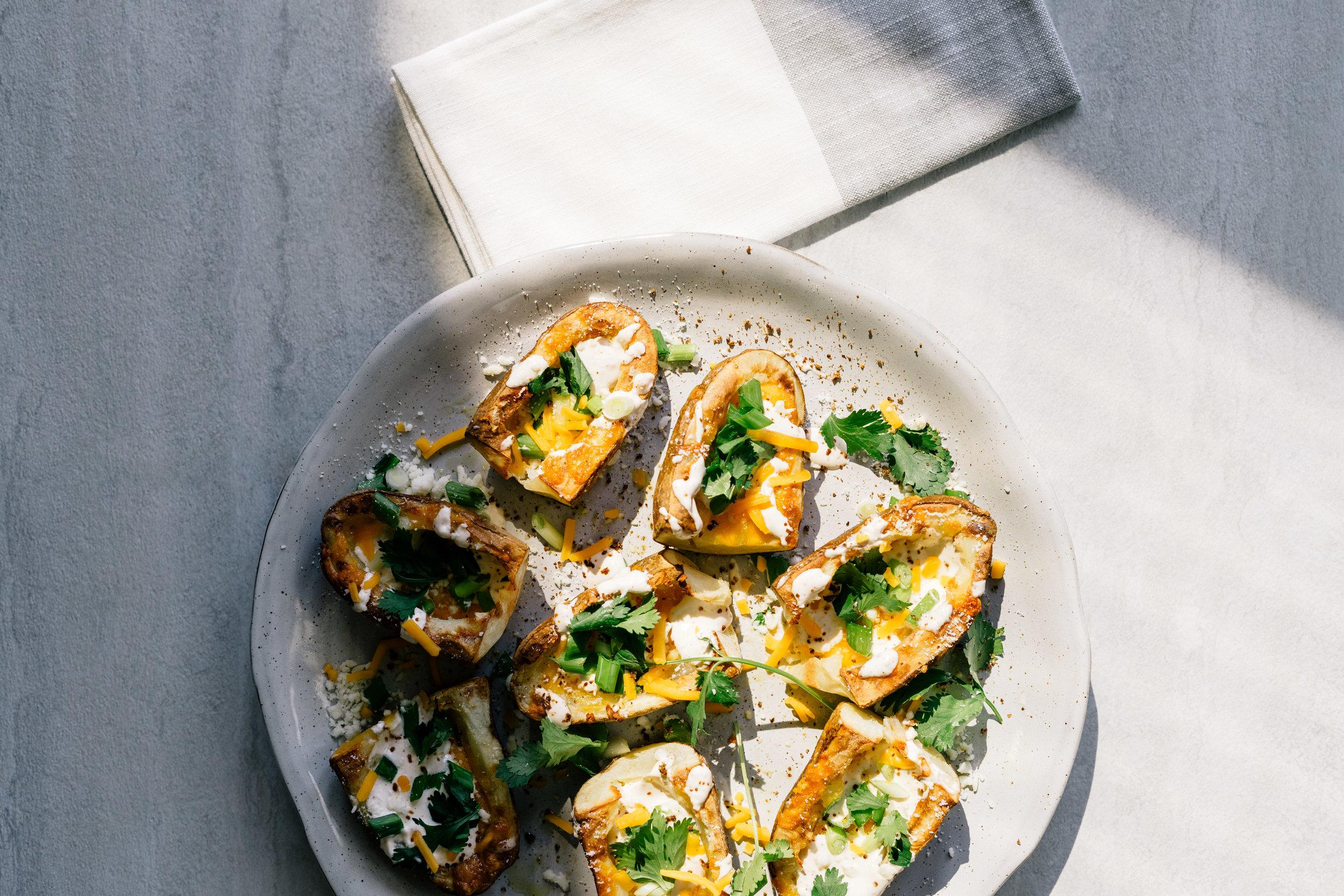 Potato Skins with Crema and Cotija Cheese