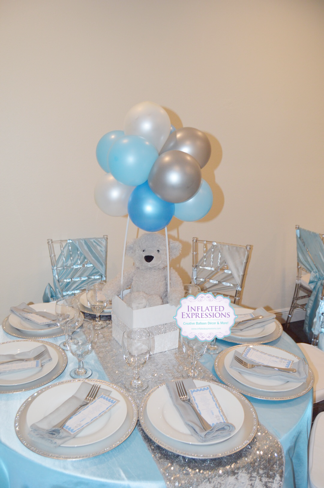 Teddy Bear Topiary Ball Balloon Centerpiece Inflated Expressions