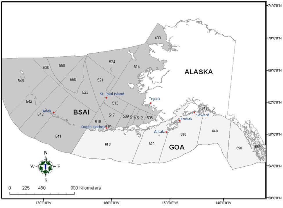 Alaska Federal Fishing Statistical Areas