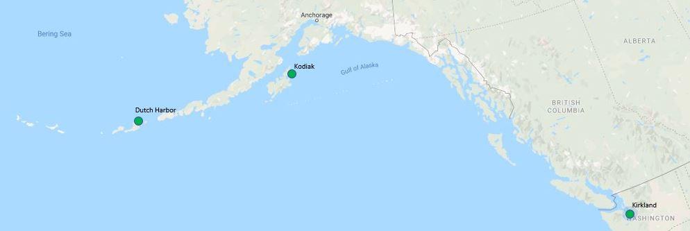Left to Right: Unalaska port of Dutch Harbor, Kodiak, Kirkland.