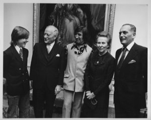 Meeting Governor General Roland Michener and his wife, with Graeme Campbell and Director Paddy Crean following the opening performance of  Treasure Island  at the National Arts Centre in Ottawa, Ontario. (That's me on the left)