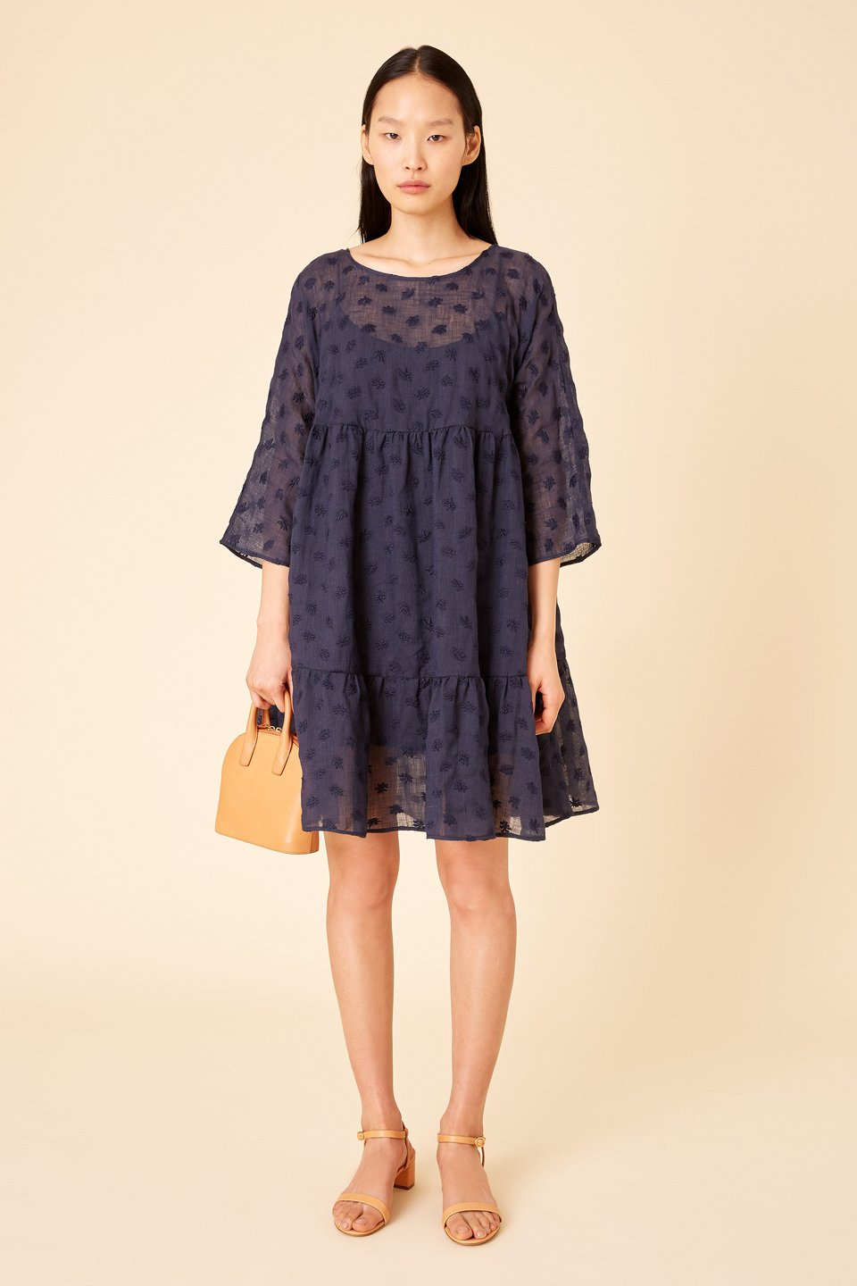 Mansur Gavriel Floral Embroidered Linen Tiered Dress