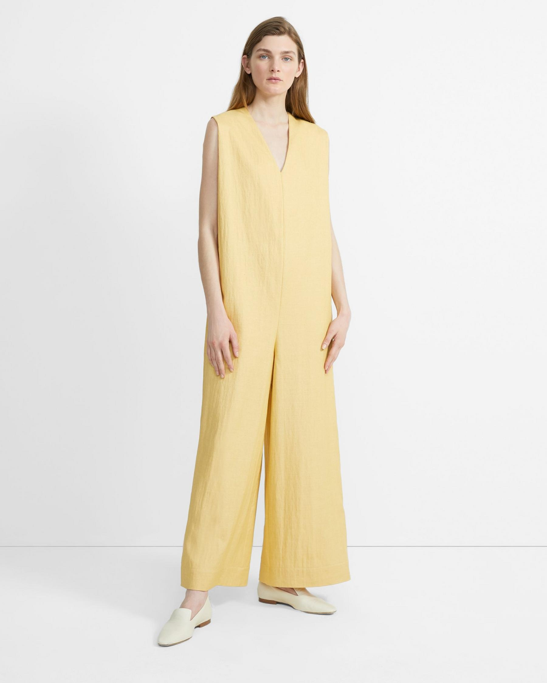 Theory Luxe Linen Straight Romper