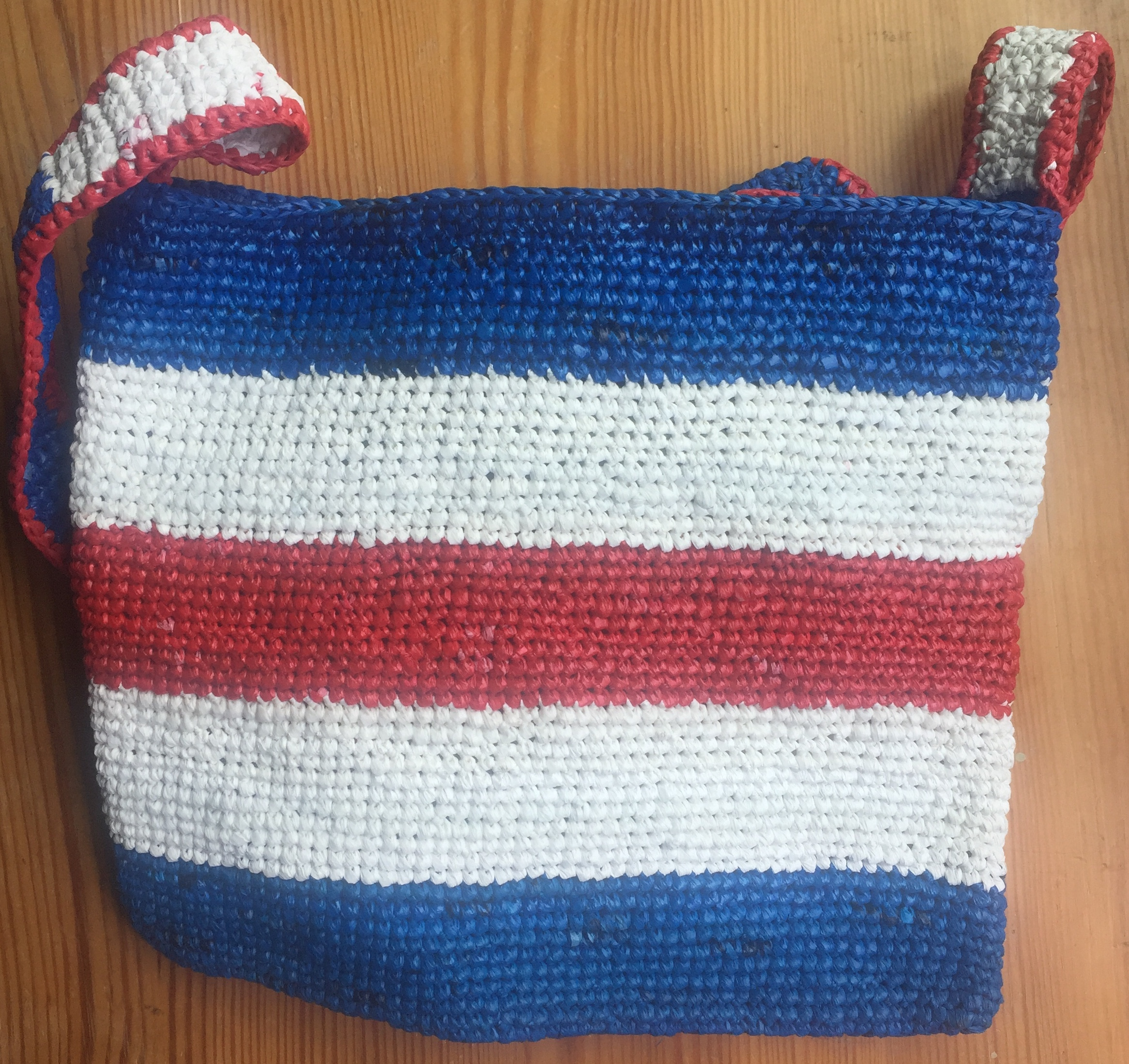 Recycled plastic handbag