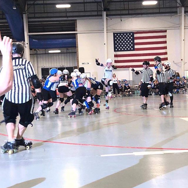 One of our skaters caught this beautiful apex jump by Lady Trample at the DRD vs VRDL game! @dnvrrollerderby @ladytrample