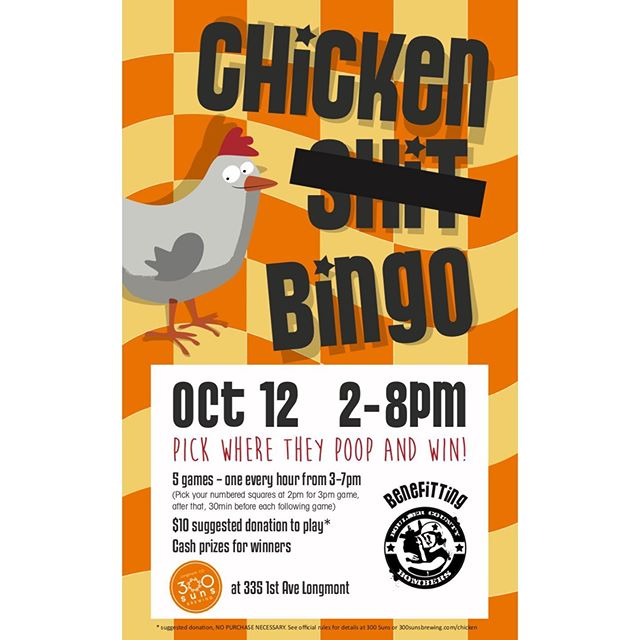 Join us for Chicken *#!.%* Bingo on October 12! Thank you to @300sunsbrewing and former BCB President Fiest E One for putting this fundraiser for BCB together!