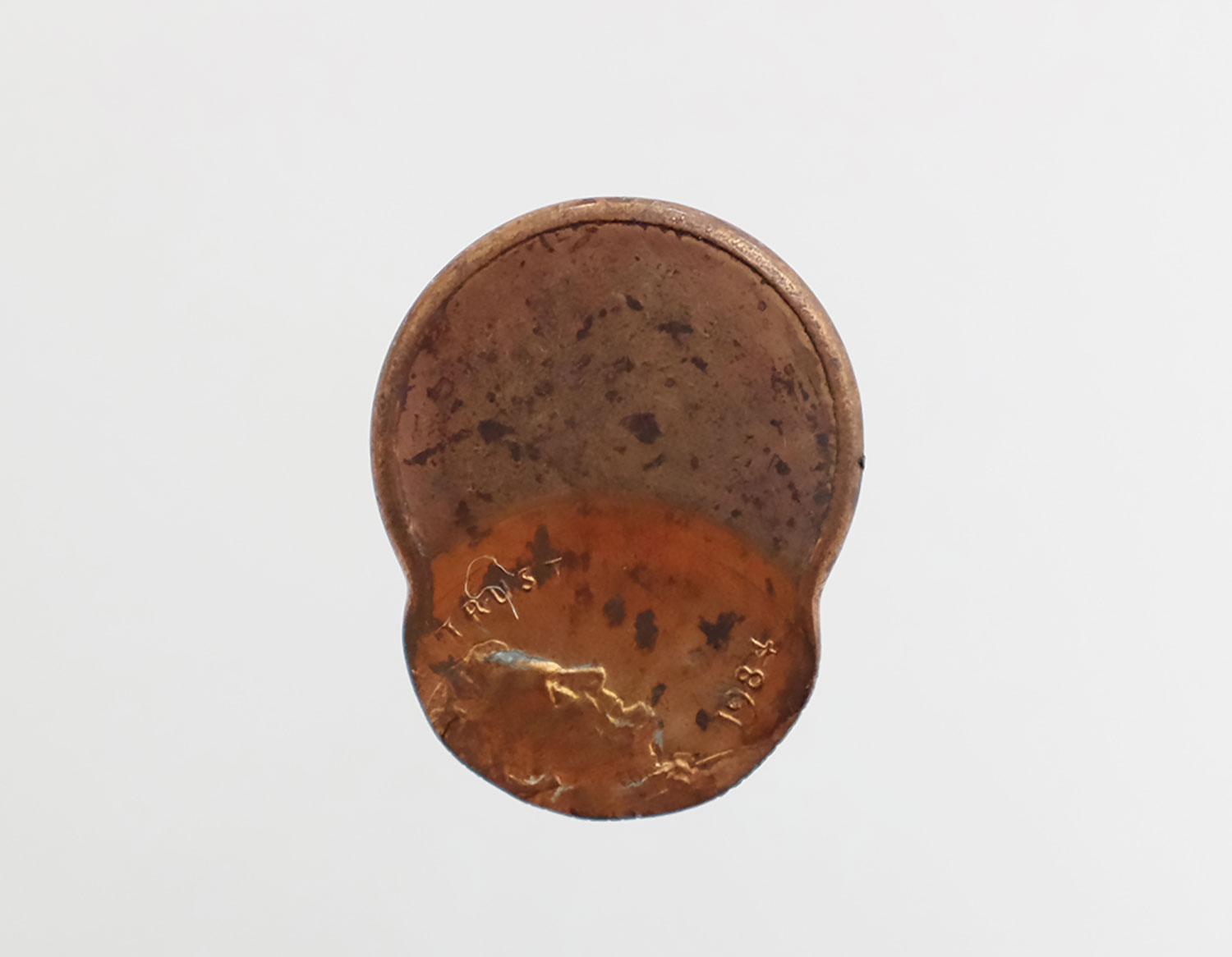 """Virginia Lee Montgomery ,  Lincoln Looking at the Moon , 2018, Lincoln 1 cent, USA penny, 3/4"""" diameter"""