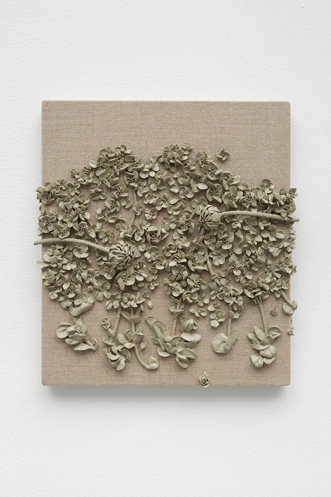 "Michael Assiff ,  Hyperaccumulators , 2018, Plastic on linen, 14"" x 16"""