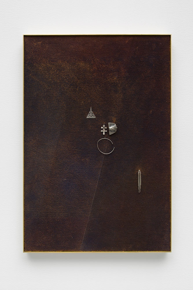 """Isabelle Cornaro ,  Golden Memories (#3, Miscellaneous Nickel Plated Objects) , 2017, Acrylic paint on carpet, mounted on dibond, brass frame, miscellaneous nickel plated objects, 31"""" x 21 ¼"""" x 1 ½"""", Courtesy Galerie Mezzanin"""