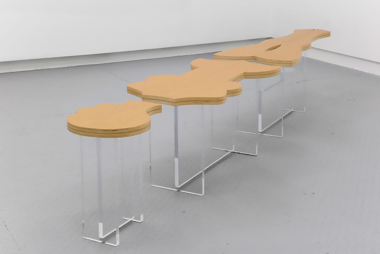 "Nicola L,   La Femme Coffee Table , 1969/2015 ,  Oak veneered wood, acrylic, 13 ¾"" x 116 ½"" x 12"", Courtesy Estate of Nicola L / Elga Wimmer Gallery"