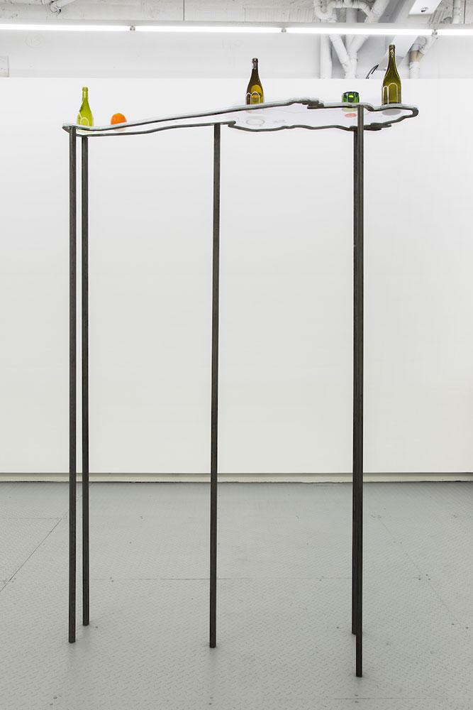 "Nadia Belerique,   On Sleep Stones (1) , 2018, Steel, acrylic, glass, found objects, photographs, pouring medium, 96"" x 24"" x 66"", Courtesy Daniel Faria Gallery"