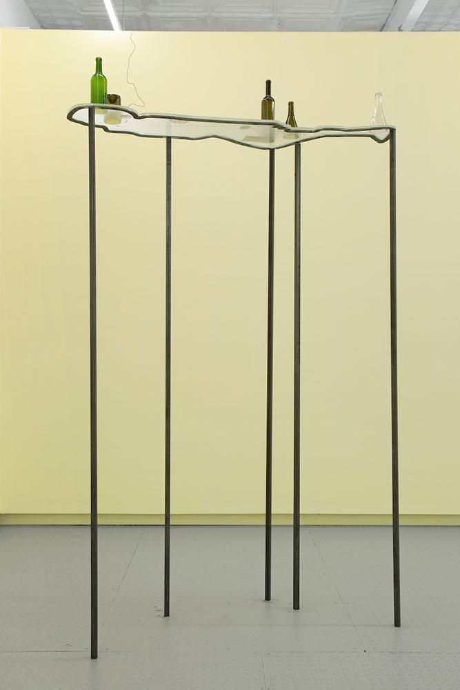 "Nadia Belerique ,  On Sleep Stones (2) , 2018, Steel, acrylic, glass, found objects, photographs, pouring medium, 96"" x 24"" x 66"", Courtesy Daniel Faria Gallery"