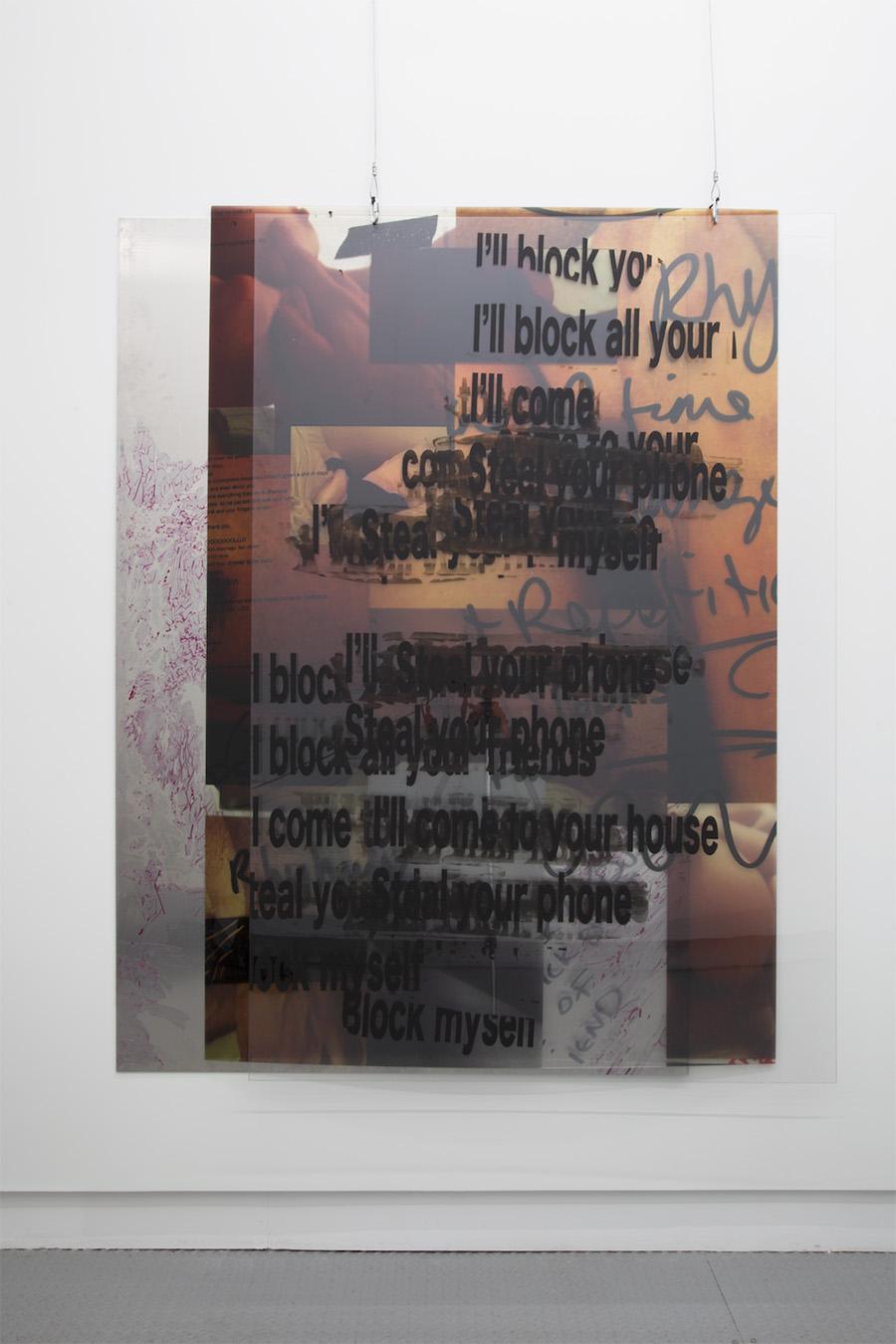 """Size Queen , 2017, Screenprint on plexiglass, digital print on perspex, 55"""" x 72"""""""